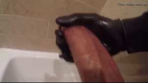 Sexy blonde blows a dick and enjoys first big load of cum