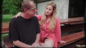 Enticing blonde faced babe fucked by old man