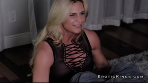 Smoking hot, blonde woman is fucking her step- son while her husband is watching her on web cam