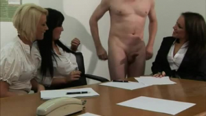 CFNM teen gets naked at the office